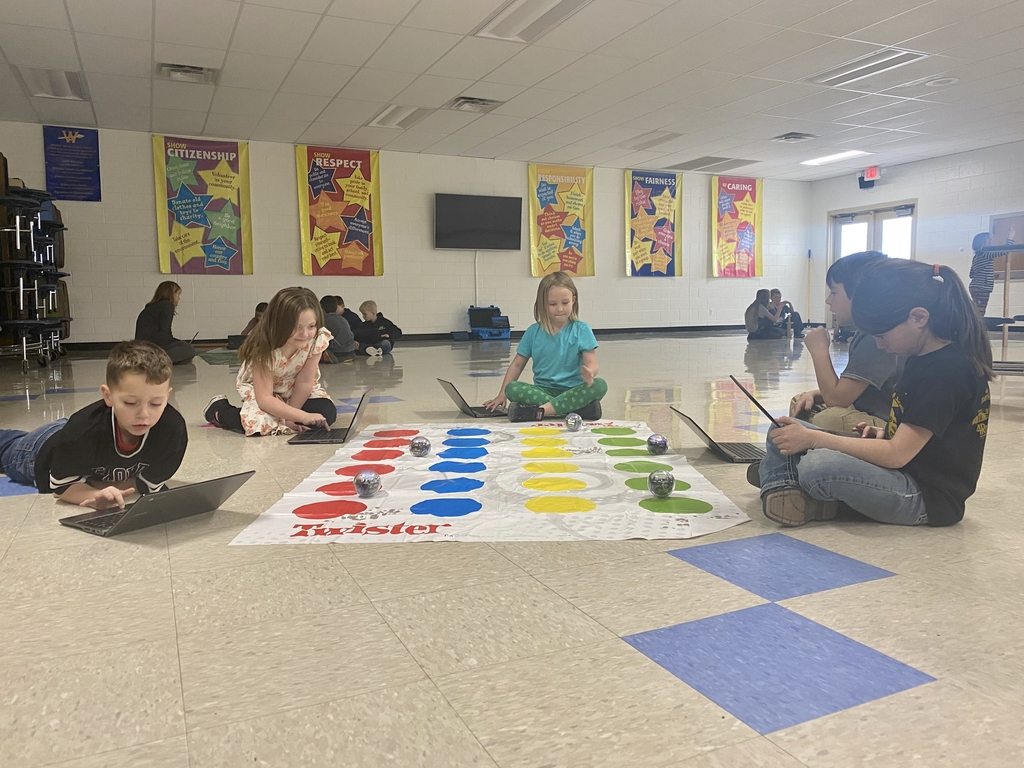 Students playing twister with Sphero Bots